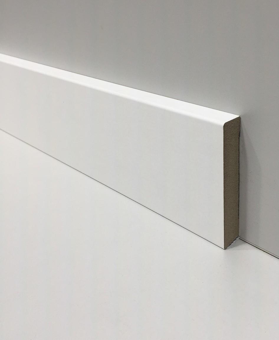 Poser Des Plinthes Bois plinthe mdf blanche (pré-peinte) bord droit 8cm